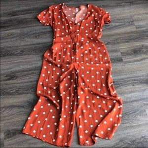 Target Pants - Target • Rust and White Polka Dot Jumpsuit